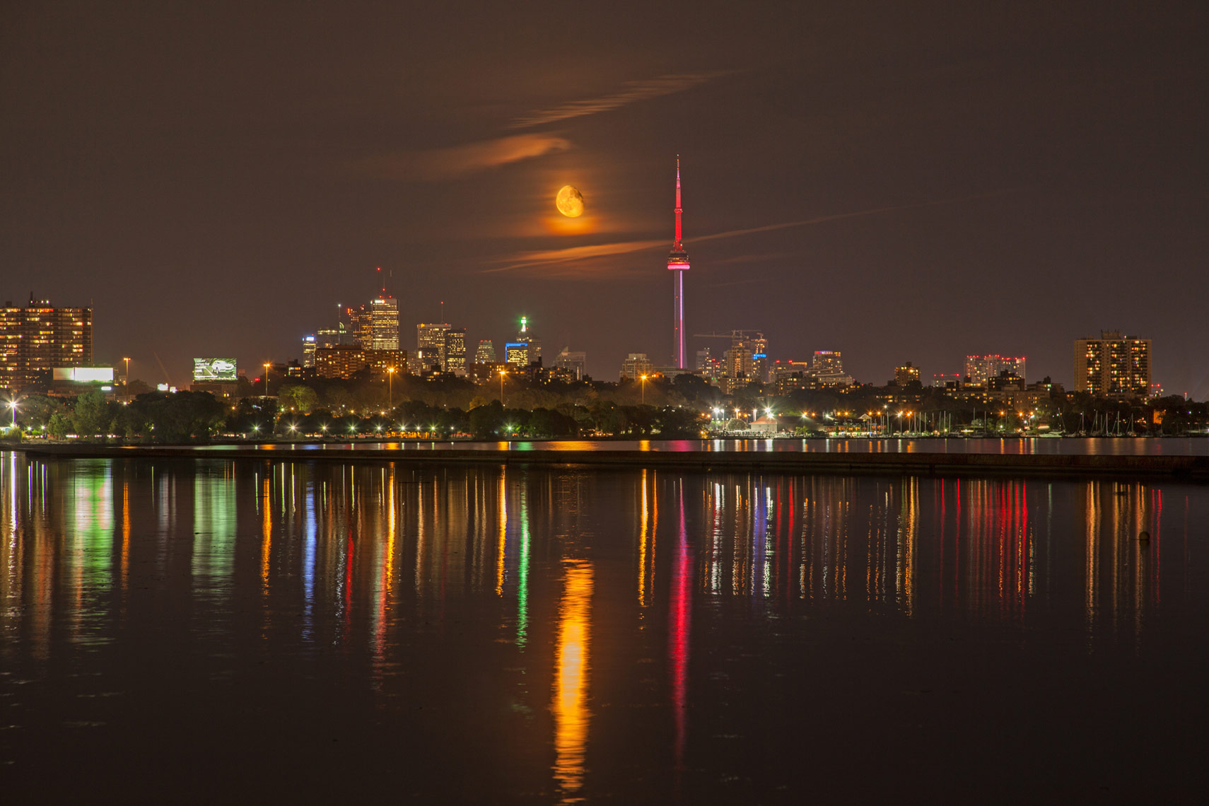 August 24 full moon and CN Tower